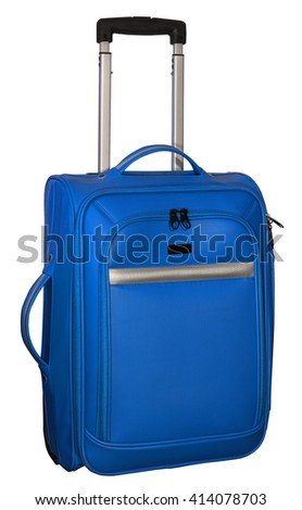 Suitcase for travel. Blue color with silver accents. Extendable handle pushed half. - stock photo