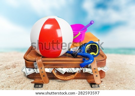 Suitcase, Luggage, Vacations. - stock photo
