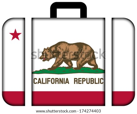 Suitcase with California State Flag - stock photo