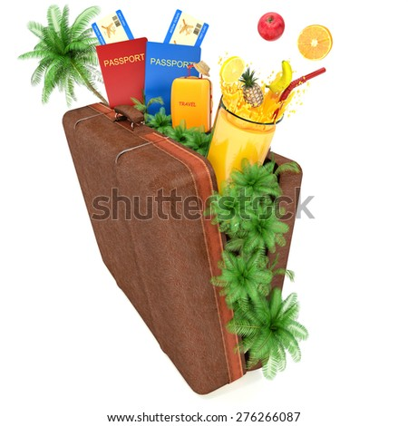 Suitcase with palm trees, juice and passports - stock photo