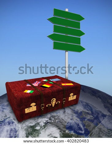 Suitcase with stickers against bright blue sky - stock photo