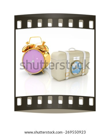 Suitcases for travel and clock. The film strip - stock photo