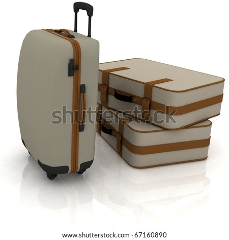 Suitcases isolated on white background - stock photo