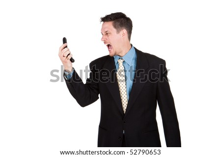 Suited man screaming at his cell phone, copyspace, isolated image - stock photo