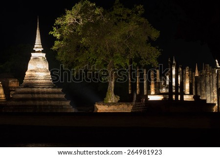Sukhothai historical park, the old town of Thailand , They are public domain or treasure of Buddhism, no restrict in copy or use  - stock photo