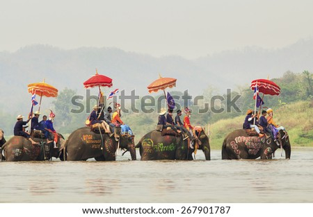 SUKHUTHAI, THAILAND-APRIL 7 :Songkran festival, A Ceremony of unidentified boys in Srisatchanalai district to become novice monk, during parade around township on April 7, 2015 in Sukhothai, Thailand. - stock photo