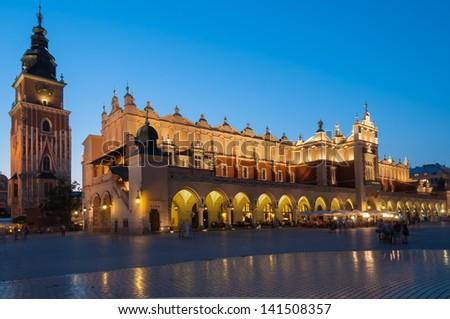 Sukiennice on The Main Market Square in Krakow, Poland - stock photo