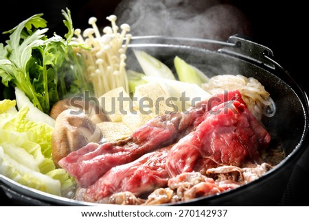 sukiyaki japanes food - stock photo