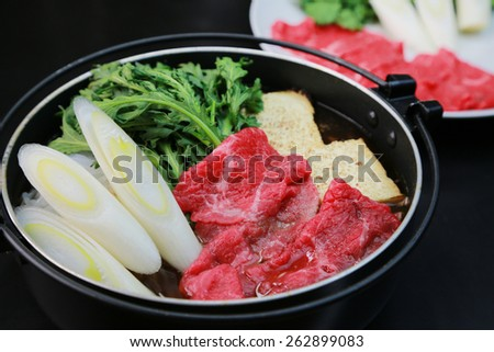 sukiyaki/japanese food - stock photo