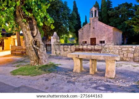 Sukosan dalmatian village historic stone church and architecture evening view, Dalmatia, Croatia - stock photo