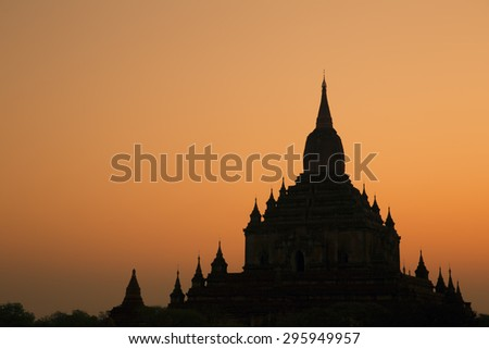 Sulamani Temple Silhouette, Nyaung-U, Myanmar (Burma).  - stock photo