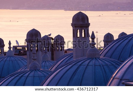 Suleymaniye Mosque domes close up. Istanbul - stock photo