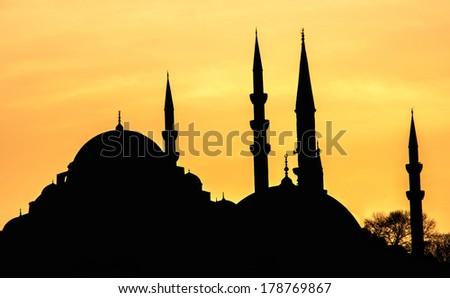 Suleymaniye Mosque silhouette at sunset,Istanbul - stock photo