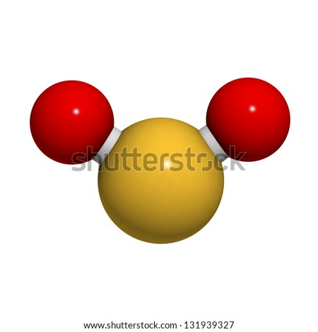 Sulfur dioxide (sulphur dioxide, SO2) gas, molecular model. SO2 (E220) is also used in winemaking. Atoms are represented as spheres with conventional color coding: sulfur (yellow), oxygen (red) - stock photo