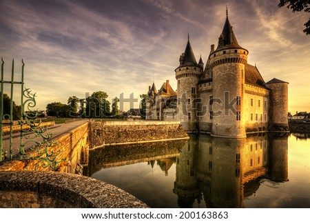 Sully-sur-loire. France. Chateau of the Loire Valley. - stock photo