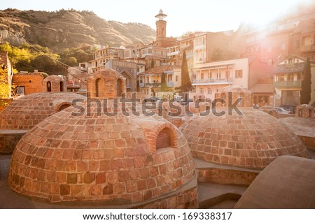 Sulphur baths in Tbilisi, Georgia Landmark.  - stock photo