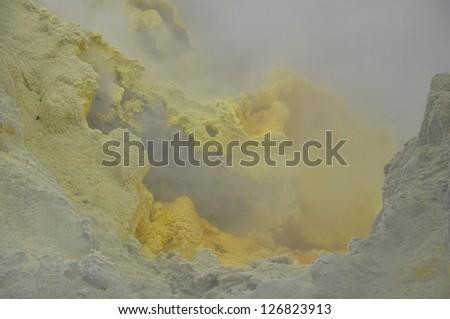 Sulphur Vent on White Island - stock photo