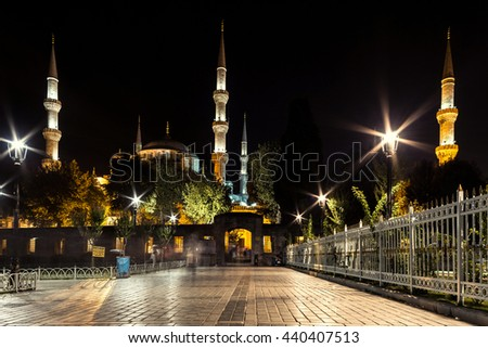 Sultan Ahmed Mosque at night. Istanbul, Turkey - stock photo