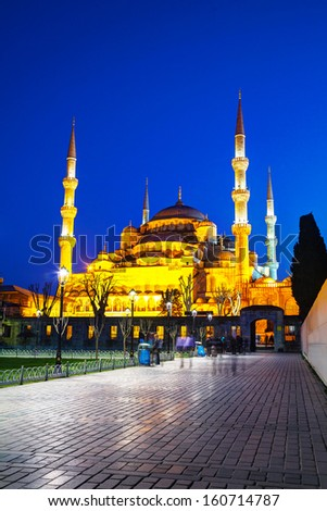 Sultan Ahmed Mosque (Blue Mosque) in Istanbul at the night time - stock photo