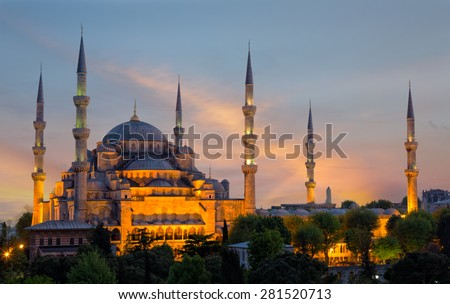 Sultan Ahmed Mosque (Blue Mosque) in Istanbul early in the morning on a sunset in evening illumination - stock photo