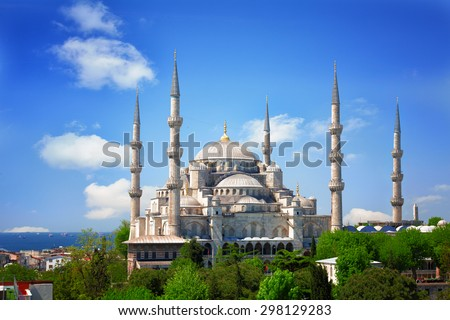 Sultan Ahmed Mosque (Blue mosque) in Istanbul in the sunny summer day, Turkey - stock photo
