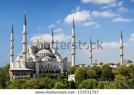 sultan ahmed mosque landmark exterior in istanbul turkey - stock photo