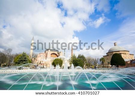 sultan ahmet park and hagia sophia - stock photo