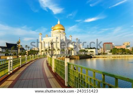 Sultan Omar Ali Saifuddin mosque, Brunei  - stock photo