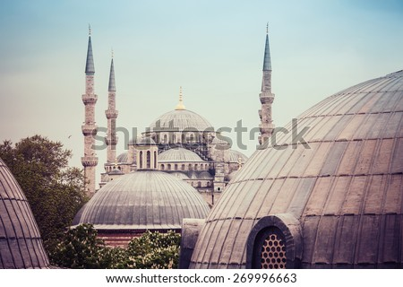 Sultanahmet Blue Mosque domes and minarets, Istanbul, Turkey - stock photo