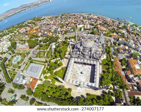 Sultanahmet Square and Blue Mosque. Aerial Istanbul - stock photo