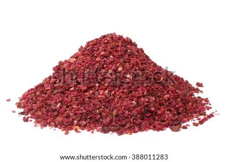 Sumac spice on white background - stock photo