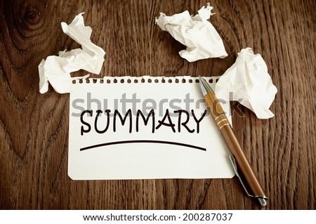 Summary - stock photo