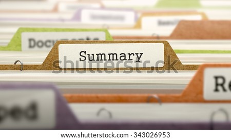 Summary - Folder Register Name in Directory. Colored, Blurred Image. Closeup View. - stock photo