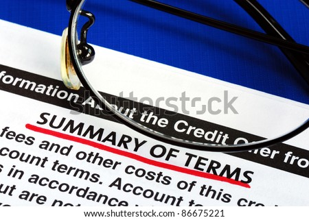 Summary of terms in a credit card offer - stock photo