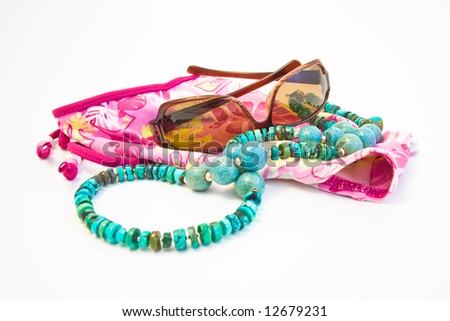 summer accessories on white background - stock photo