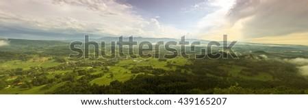 Summer aerial panorama of Kaczawskie, Rudawy Janowickie and Karkonosze Mountains in Poland - stock photo
