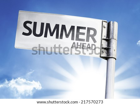 Summer Ahead written on the road sign - stock photo