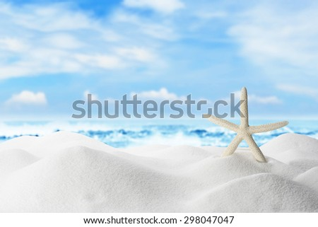 Summer and Beach Concept. Sandy Beach with Starfish - stock photo