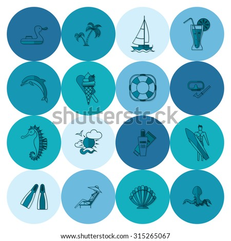 Summer and Beach Simple Flat Icons, Travel and Vacation.  - stock photo
