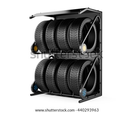 Summer and winter tires set for sale at a tire store. 3d image isolated on a white background. - stock photo