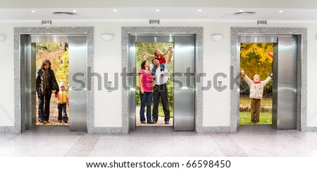summer autumn  family in Three elevator doors in corridor of office building collage - stock photo