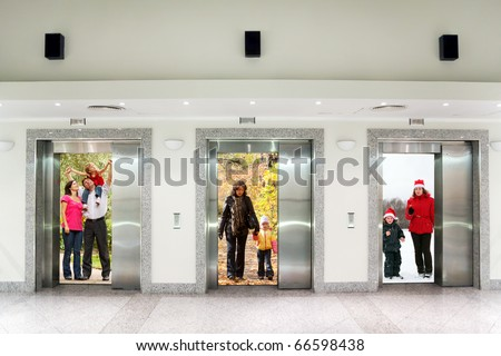 summer autumn winter family in Three elevator doors in corridor of office building collage - stock photo