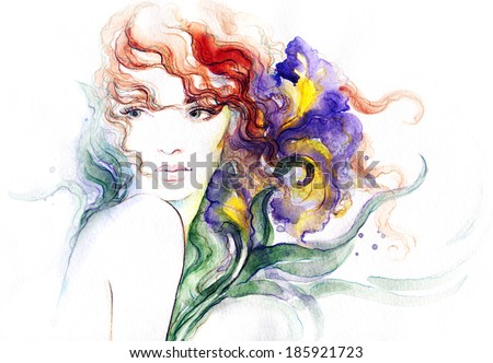 summer background.  abstract  watercolor .woman portrait  - stock photo