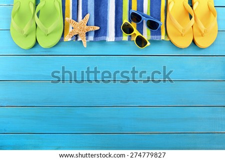 Summer background border blue beach deck copy space - stock photo