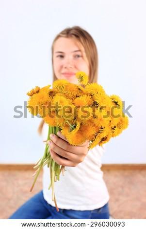 Summer background, Romantic background, Dandelions, Dandelions background, Yellow background, Early spring, Beautiful background, Spring flowers, Joyful people, Joyful background, Happy - stock photo