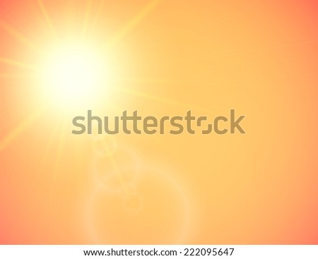 Summer background with a summer sun burst with lens flare, orange illustration - stock photo