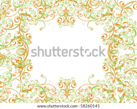 summer background with floral ornament - stock photo