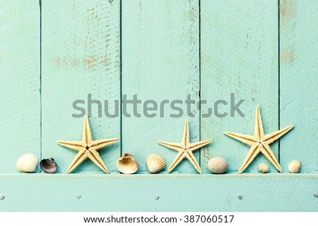 summer background with seashells - stock photo