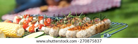 Summer barbecue party in the garden - stock photo