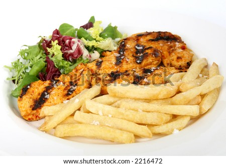 Summer barbeque chicken with salad and French fries, macro close up  isolated on white - stock photo